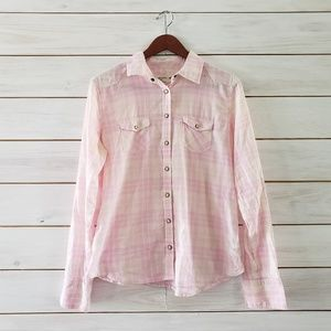American Eagle plus size 14 pink plaid snap front